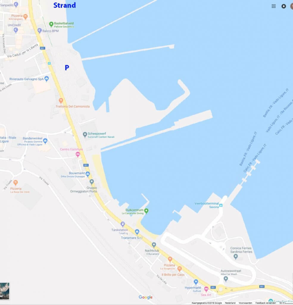 route naar haven en strand Savona en veerdienst Corsica