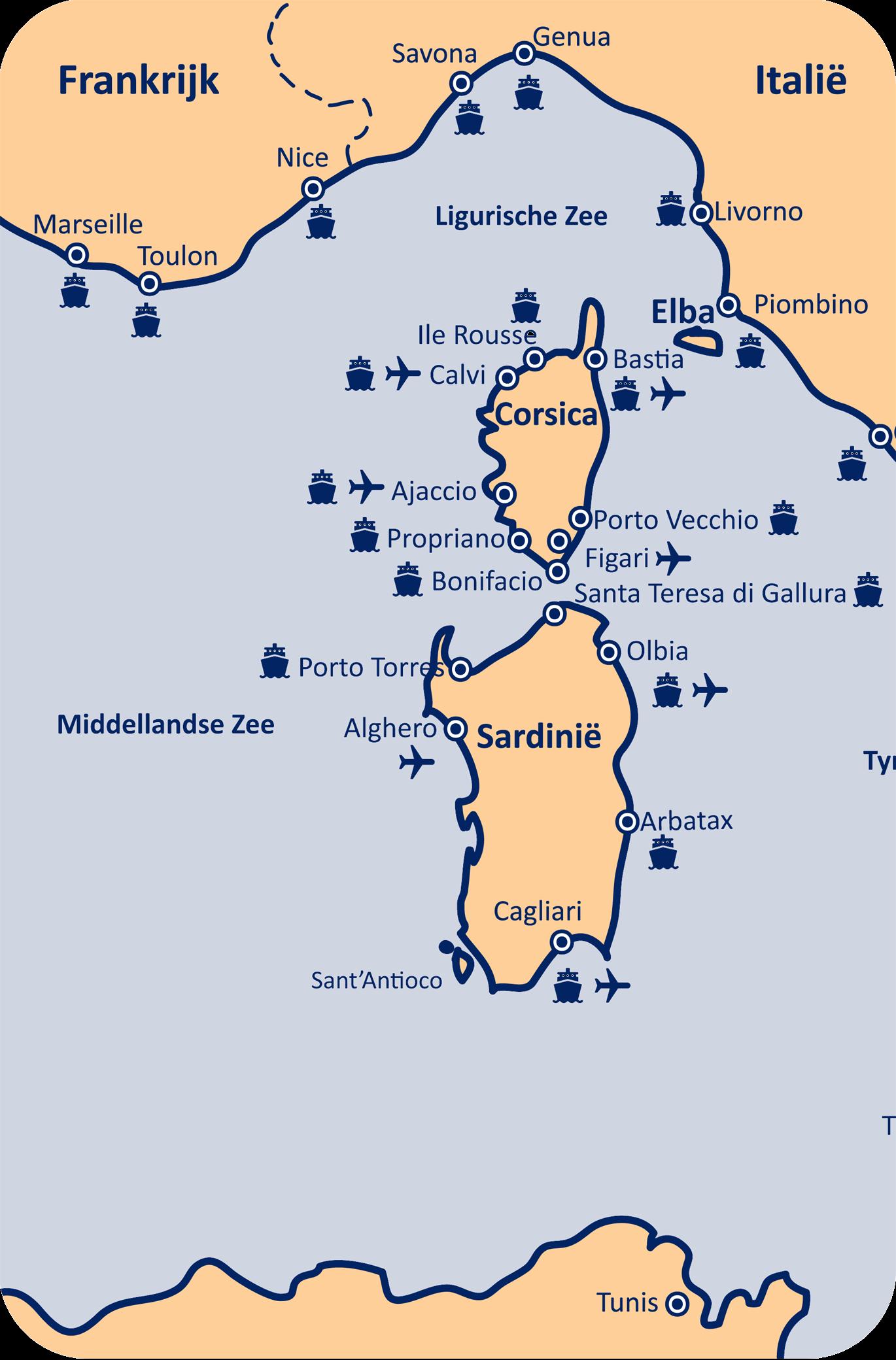 Alle havens veerdiensten Sardinië